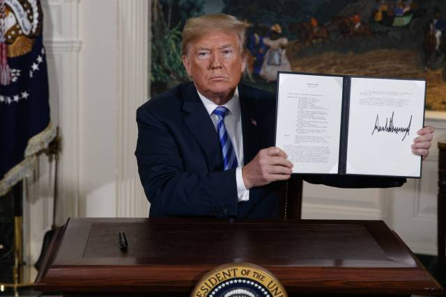 Trump announces withdrawal of his country from Iran nuclear deal